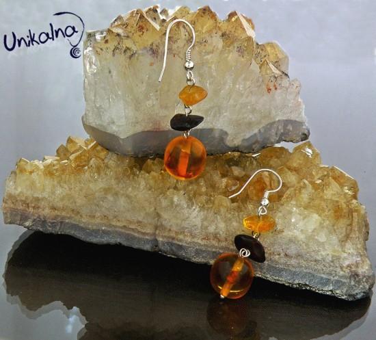 Gold Amber-обици от натурален Кехлибар