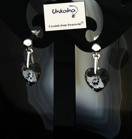 Обици с кристал Swarovski Silver Heart Mini