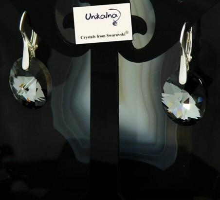 Обици с кристал Swarovski Silver Oval