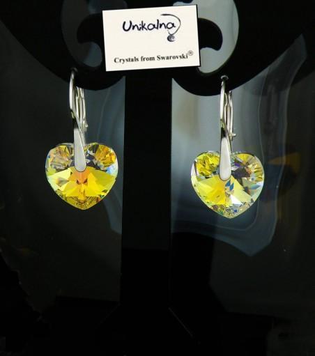 Обици с кристал Swarovski Crystal Heart AB