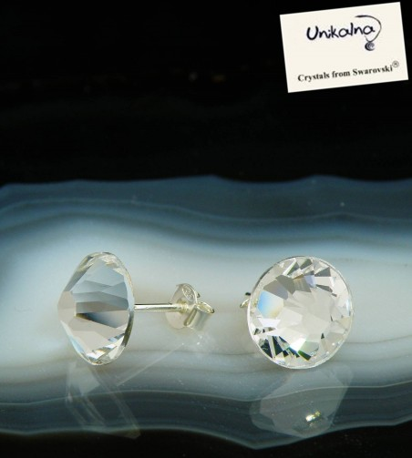 CRYSTAL EARRINGS - 11mm - сребърни обици с кристали Swarovski