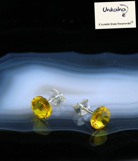 CITRINE EARRINGS - 7mm - сребърни обици с кристали Swarovski