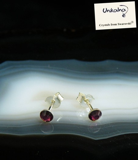 AMETHYST EARRINGS - 4mm - сребърни обици с кристали Swarovski