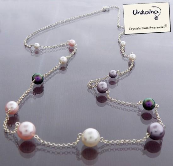 Long Pearl Necklace - сребърно колие с перли Swarovski