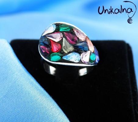 COLORFUL PETALS - сребърен пръстен с кристали Swarovski