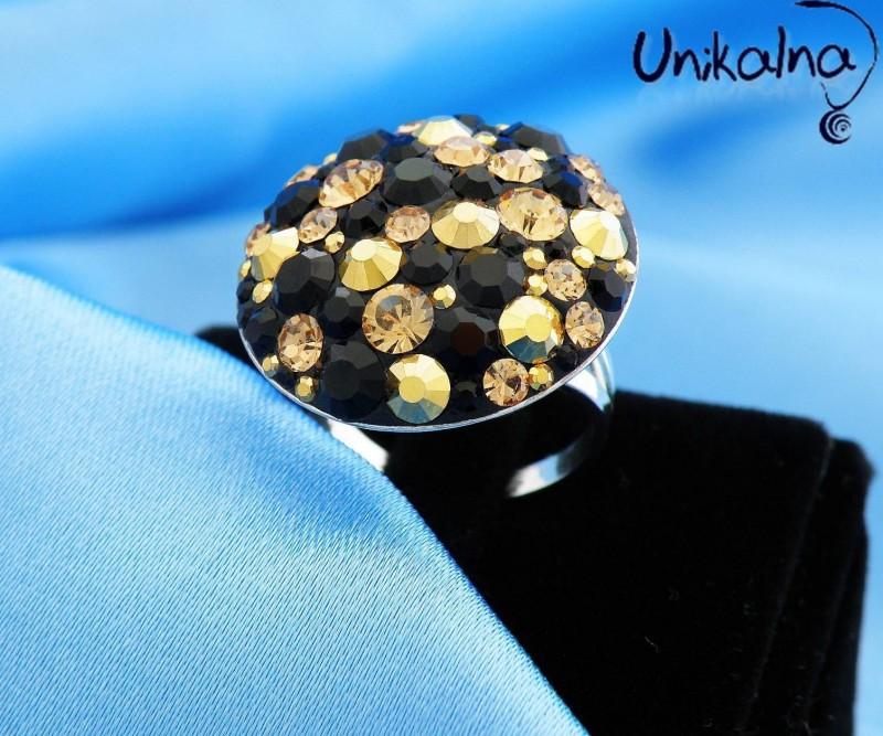 JET CRYSTAL RING - сребърен пръстен с кристали Swarovski