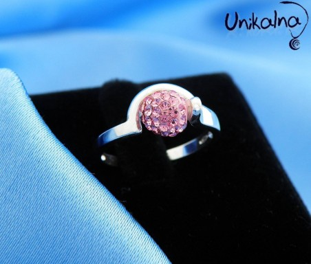 PINK BALL - сребърен пръстен с кристали Swarovski