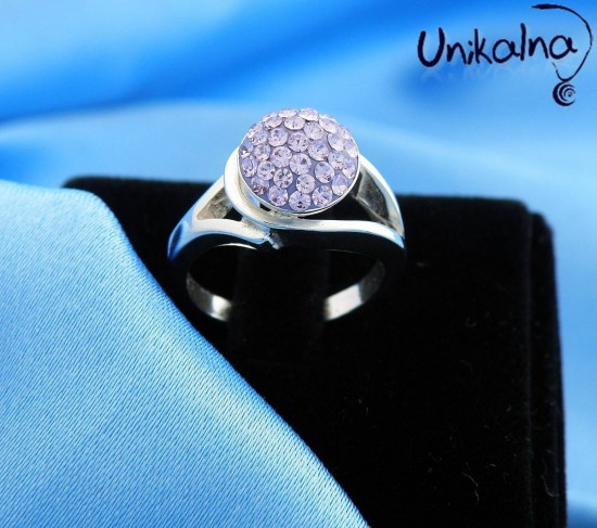 BEAUTY IN VIOLET - сребърен пръстен с кристали Swarovski
