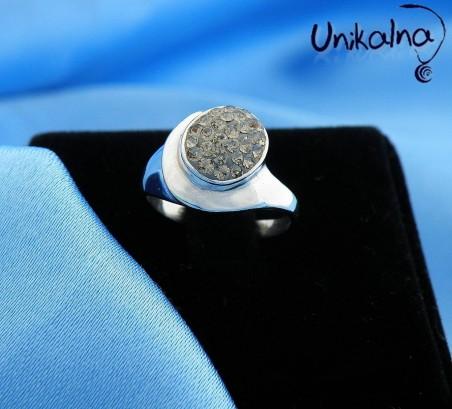 GRAY BEAUTY - сребърен пръстен с кристали Swarovski