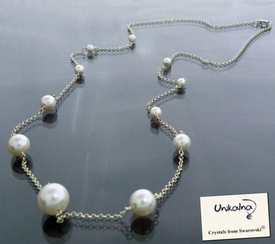 Long Pearl Necklace - 2 - сребърно колие с перли Swarovski