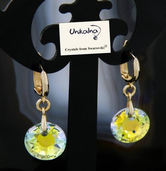 Златни обици с кристали SWAROVSKI AB Mini Circle
