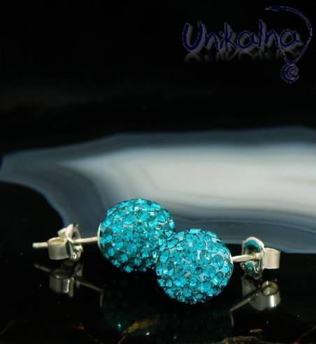 BLUE DISCO BALL - 10mm - сребърни обици с кристали Swarovski