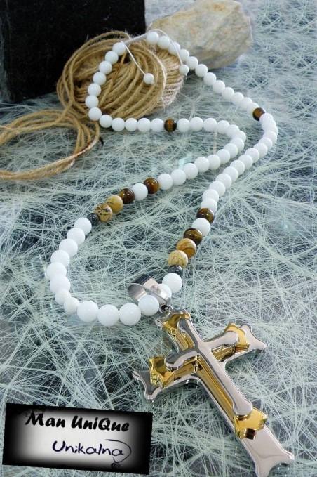 Колие от естествени камъни White Onyx