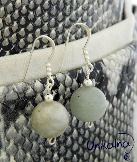 Сребърни обици с естествен камък Амазонит