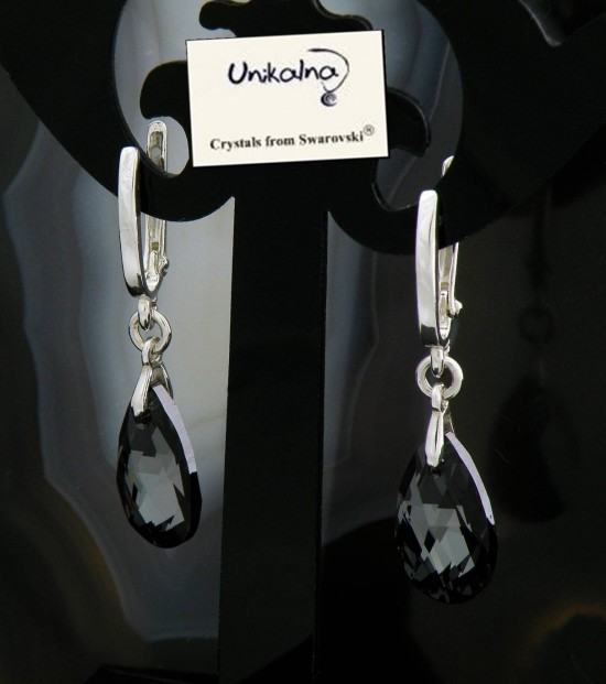 Обици с кристал SWAROVSKI Silver Pear 16