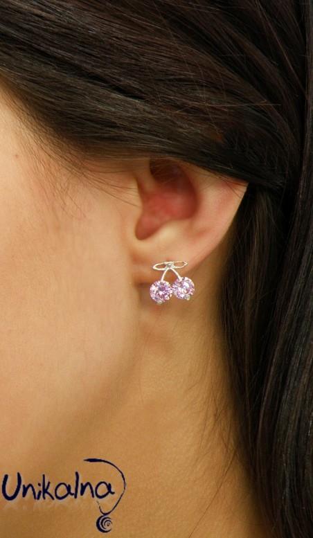 Сребърни обеци - Pink Cherry