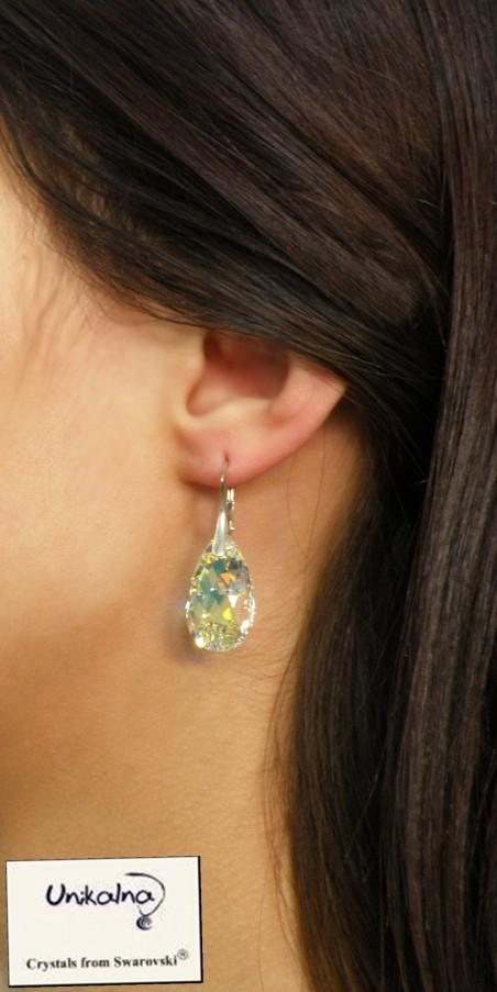 Обици с кристал Swarovski Crystal Pear AB