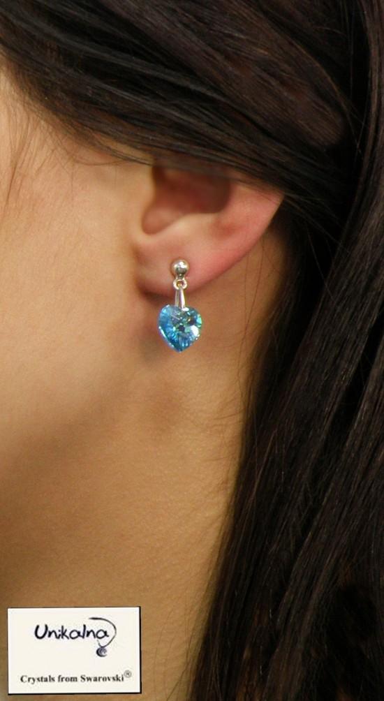 Обици с кристал Swarovski Aqua Heart Mini