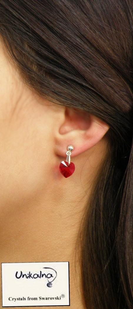 Обеци с кристал Swarovski Siam Heart Mini