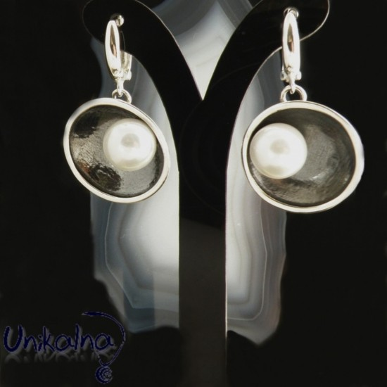 Сребърни обеци Patina Pearl