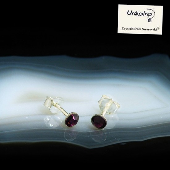 AMETHYST EARRINGS - 4mm -...