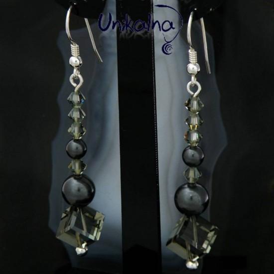 Сребърни обеци с кристали и...